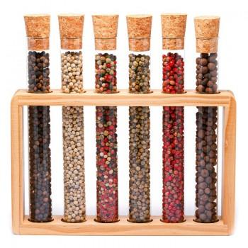 Set di sei fiale in vetro di pepe mix