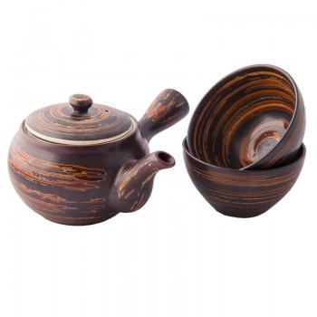 Teapot with dark ceramic...